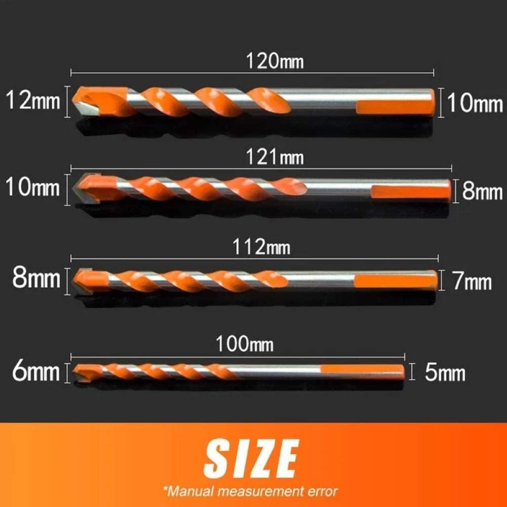 Gulakey Drill Bits 5Pcs Multifunctional Concrete Spiral Shank Tile Ceramic Wall Tools Hole Triangular-Overlord Glass Accessories Twist