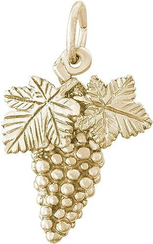 Mireval 14k Yellow Gold Grapes Charm 8 x 19 mm
