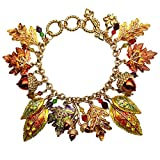 Maple Acorns & Oak Leaves for Autumn Toggle Charm Bracelet (Goldtone) Ritzy Couture Theme Party Jewelry for Women