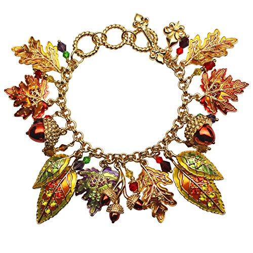 Ritzy Couture Women's Enamel Dangling Ornament Maple Oak Leaves Fall Acorns Toggle Bracelet (Goldtone)