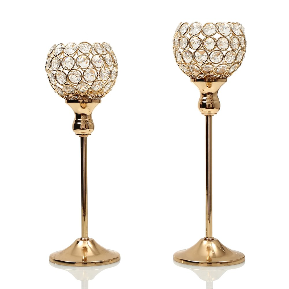 Amazon.com: VINCIGANT Gold Crystal Candle Holders Coffee Table ...