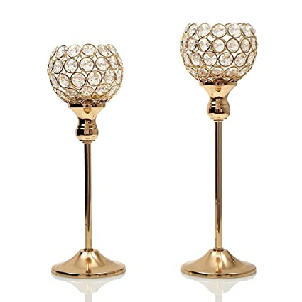 VINCIGANT Gold Crystal Candle Holders Coffee Table Decorative Centerpiece Candlesticks Set For Dining Decorations
