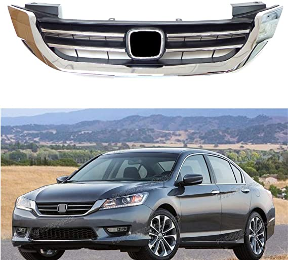 4 Door Sedans ONLY HO1200214 ECOTRIC New Front Bumper Hood Grille Grill Replacement for 2013-2015 Honda Accord 4d Replaces for 71121T2FA01
