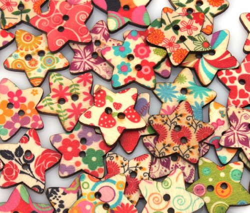 YARUIE 2 Holes Assorted Pattern Star Wood Sewing Buttons Scrapbooking Burlywood (Pack of 100)