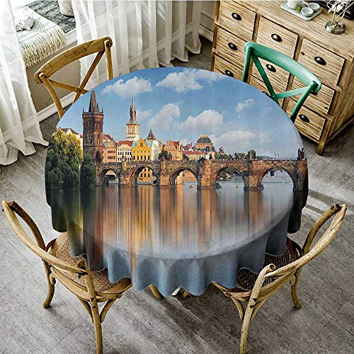 familytaste Tablecloths for Spring Wanderlust Decor Collection,Charles Bridge in Prague Czech Republic Reflection on River Towers Forest Landmark Scenery,Ivory Blu D 36