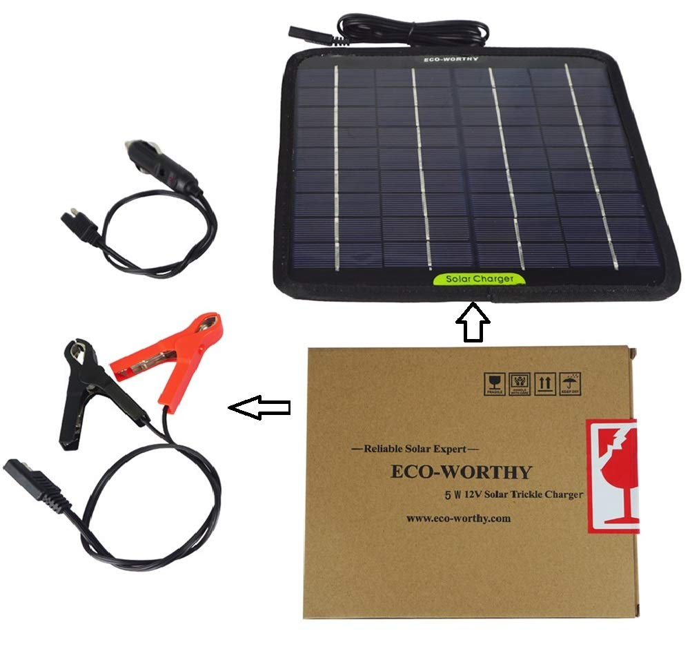 ECO-WORTHY 5W Solar Battery Maintainer for Motorcycle Car Snowmobile Camper Trailer with Cigarette Lighter Plug, Battery Crocodile Clips
