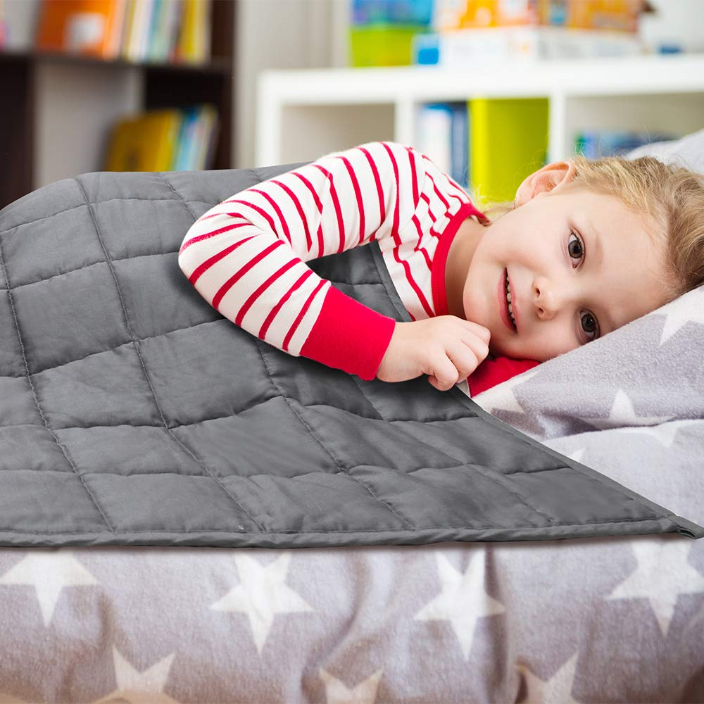 36x48, Gray 5 lbs Heavy Blanket with Cool Cotton /& Glass Beads for Boys Girls Calm Deep Sleep Weighted Blanket for Kids