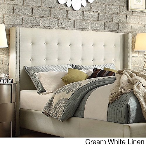 iNSPIRE Q Marion Nailad Wingback Button Tufted Full Size adboard by Bold Cream White (Cream Leather Headboard)