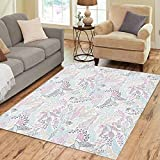 Semtomn Area Rug 2' X 3' Blue Pattern Colored Flying Birds and Clouds Colorful Abstract Home Decor Collection Floor Rugs Carpet for Living Room Bedroom Dining Room