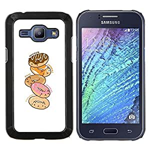Dragon Case - FOR Samsung Galaxy J1 J100 J100H - doughnut white pink cartoon drawing - Caja protectora de pl??stico duro de la cubierta Dise?¡Ào Slim Fit