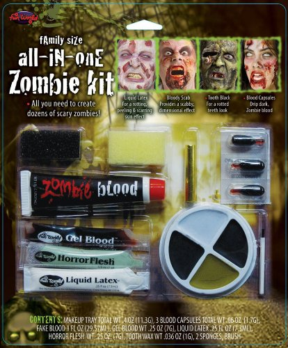 [Family Size All In One Zombie Kit Costume Makeup] (Liquid Latex Zombie Costume)