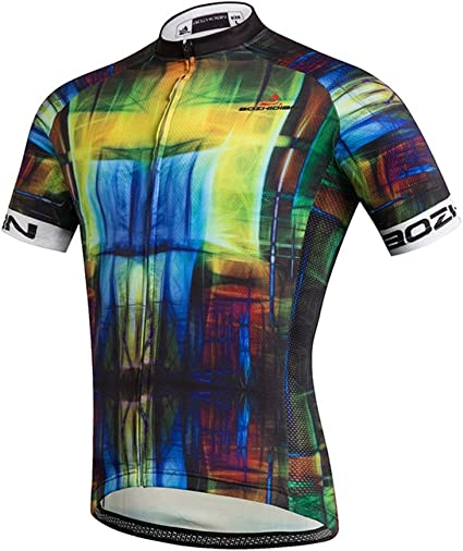 Men/'s Reflective Cycling Jersey Full Zip Short Sleeve Bike Clothing Biking Shirt