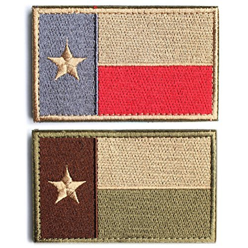 """Bundle 2 Pieces - Tactical American US Texas Lonely Star Flag Patch With Backing Multi Tan Subdued Silver Decorative Embroidered Appliques 2"""" High By 3.2"""" Wide"""