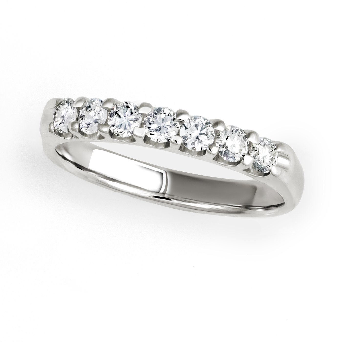 14KT White Gold 1/2ct G-I SI1/SI2 7 Stones Machine Set Wedding Ring