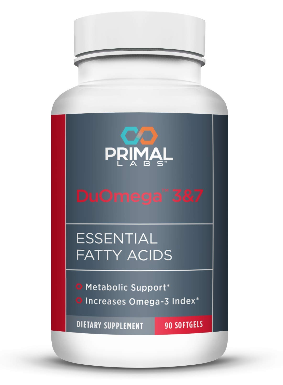 Primal Labs - DuOmega 3&7, Essential Omega-7, Omega-3 Fatty Acid Fish Oil, with EPA DHA and Palmitoleic Acid, Helps with Cholesterol and Healthy Weight