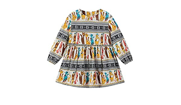 Randolly Girls Dress,Toddler Baby Kids Long Sleeve Cat Stripe Zipper Princess Cute Clothes