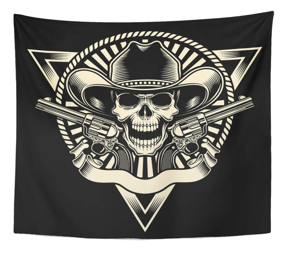 Emvency Tapestry Artwork Wall Hanging Gun Cowboy Skull with Revolver Outlaw Skeleton Pistol Emblem Badge Vintage Scary 50x60 Inches Tapestries Mattress Tablecloth Curtain Home Decor Print