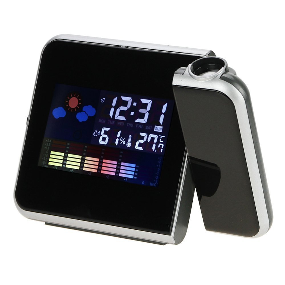 Aenmil Portable Digital Time Projector LED Weather Temperature Humidity Wall Projection Alarm Snooze Clock/Projection Alarm Clock/Digital Alarm Clock/Thermometer/Calendar, 2 Modes Times(12 / 24 hours) are Available. Calendar: 2001-2099 Year