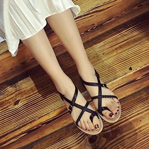 Sandalias de las mujeres,Internet Bohemia del vendaje de la espina de pescado de playa zapatos planos Negro