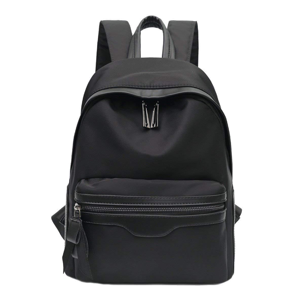 Black Medium Kin Canvas Backpack Purse Travel Water Resistant Large Lightweight School Backpacks for Women Nylon Casual Backpack