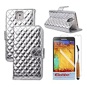 Elonbo TM Sliver Fashion Shiny Diamond PU Leather Wallet Flip Stand Full Body Protector Case Cover Skin For Samsung Galaxy Note 3 N9000+ Cleaning Cloth+ Touch Pen Stylus+ Front Screen Protector