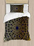 Ambesonne Mandala Duvet Cover Set Twin Size, Large Detailed Round Vintage Mandala Lotus Inspired Ethnic Ethnicity, Decorative 2 Piece Bedding Set with 1 Pillow Sham, Navy Blue Black Yellow