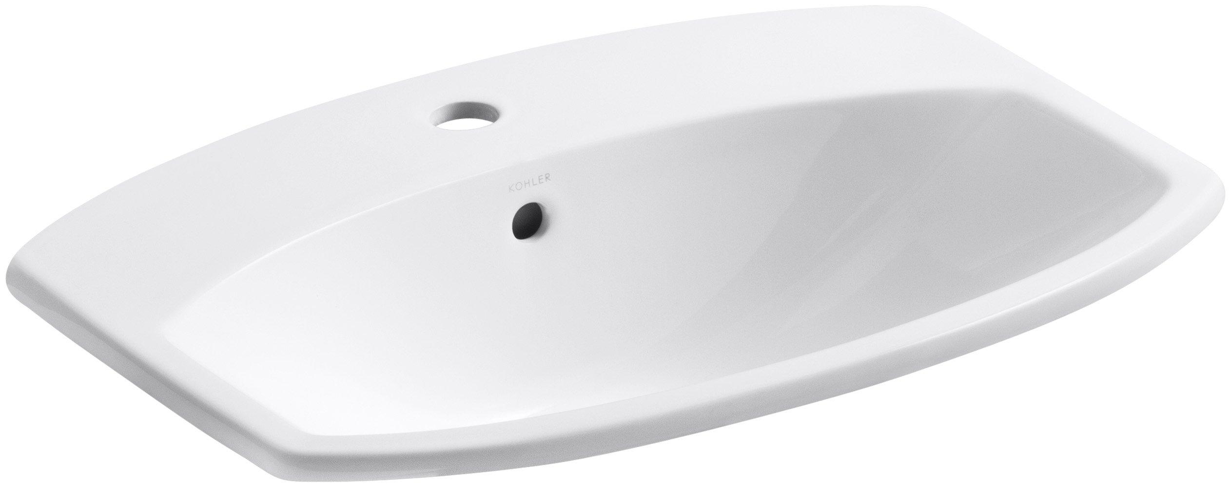 KOHLER K-2351-1-0 Cimarron Self-Rimming Bathroom Sink, White