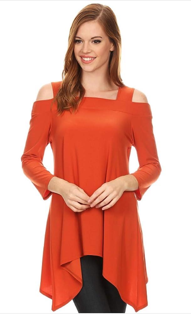 Womens Asymmetrical Cold Shoulder Cut Outs Tunic Fashion Top