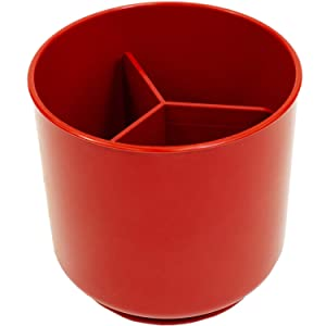 Red Extra Large and Sturdy Rotating Utensil Holder with No-Tip Weighted Base, Removable Divider, And Gripped Insert | Rust Proof and Dishwasher Safe by Cooler Kitchen