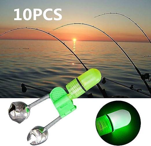 Night Fishing Rod Bite Alarm Bells Lights 10PCS LED Twin Bells Bite Alert Rings