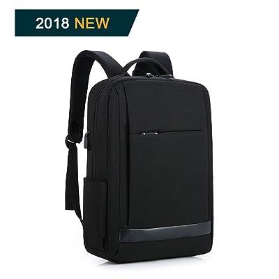 BestoU mochila portatil 15.6 pulgadas laptop backpack usb mochilas hombre casual impermeable antirobo (Negro)