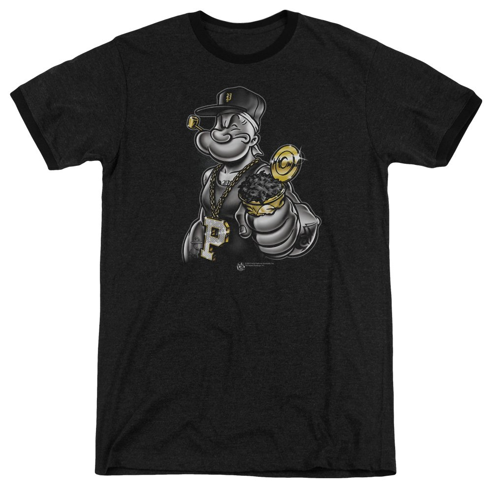 Popeye Sailor Man Cartoon Character Get More Spinach Adult Ringer T Shirt Tee