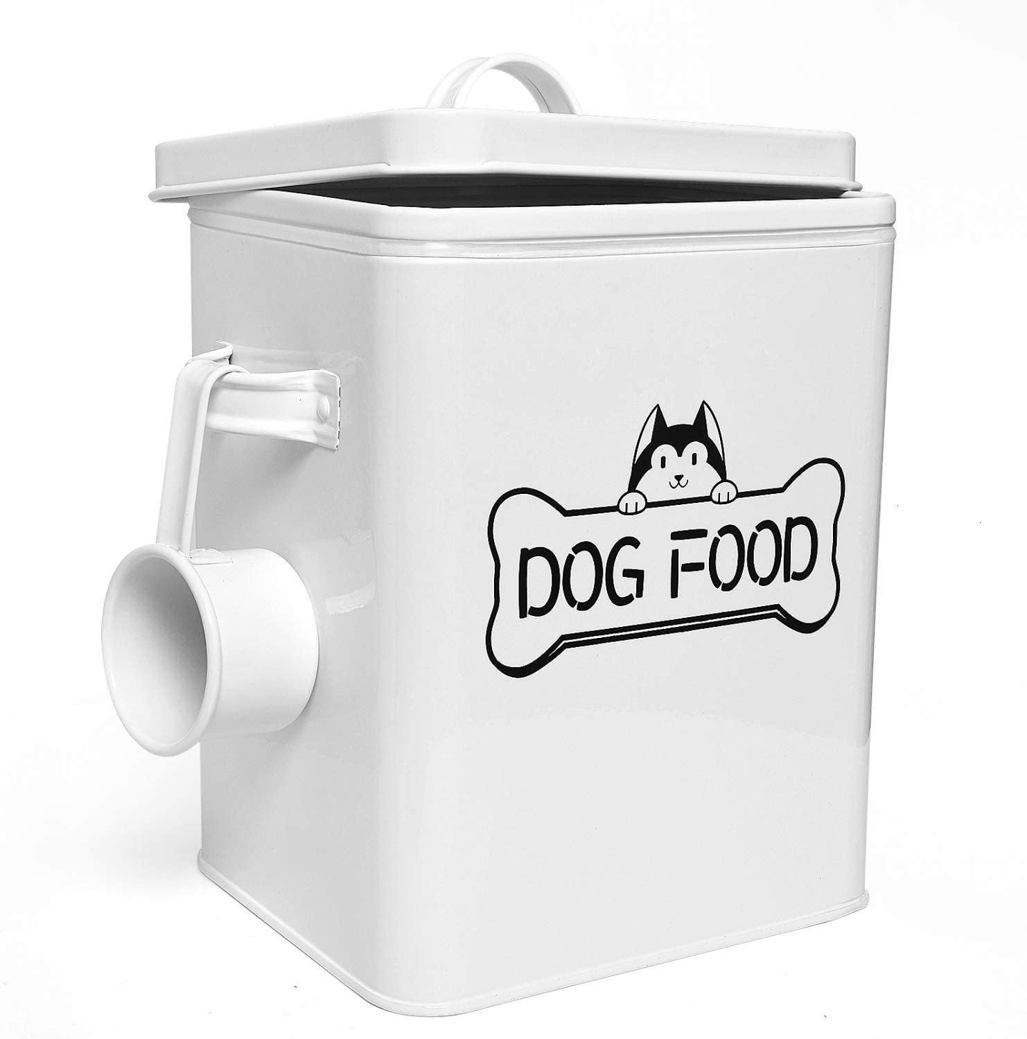 Vumdua Pet Treat and Food Storage Container with Serving Scoop - Farmhouse Dog Food Container with Lid, Airtight Dog Treat Storage Tins, Great Gift for Dog Owners, White