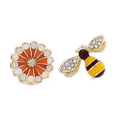 3008ddaa975 Bee Earrings Flower Stud Mismatched Earrings For Women Enamel Cute Honeybee  Daisy Jewelry
