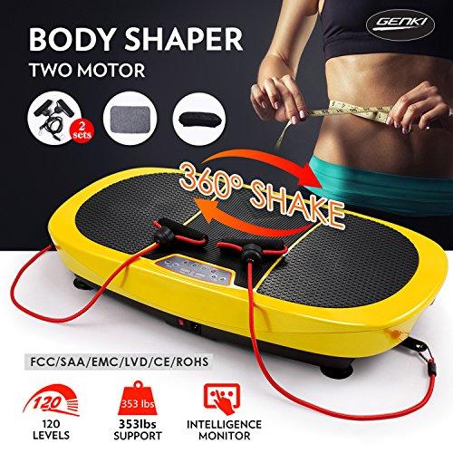 3D Dual Motor Fitness Vibration Platform Workout Machine Whole Body Shape Exercise Machine Vibration Plate Massage Workout Trainer with Remote Control & Resistance Bands ,Mat
