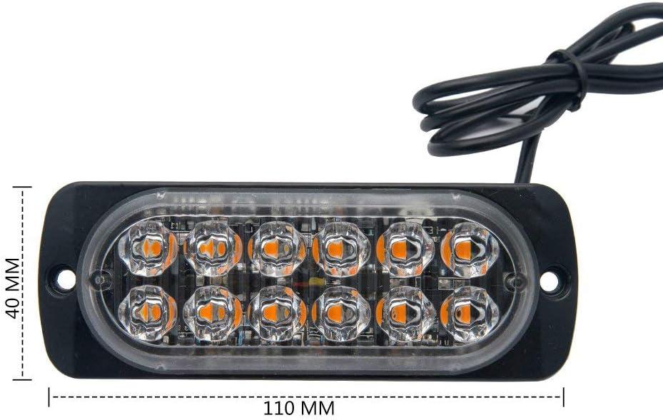 JZWDMD 12 LED 12-24V Camion De Voiture Avertissement Pr/écaution Construction durgence /Étanche Beacon Pr/écaution De La Foudre Pare-Chutes pour SUV Camion De Voiture ATV Jeep Voiture Moto 4 Pi/èces