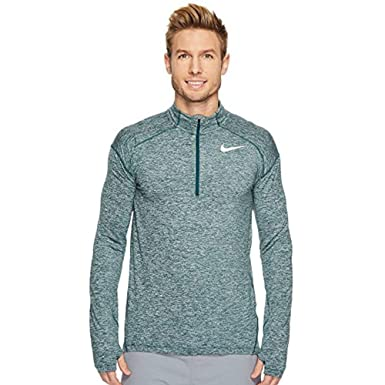 e7b100c3 Image Unavailable. Image not available for. Color: Nike Men's Element Dri-Fit  Half Zip Running Shirt, Heather Green/Metallic Silver