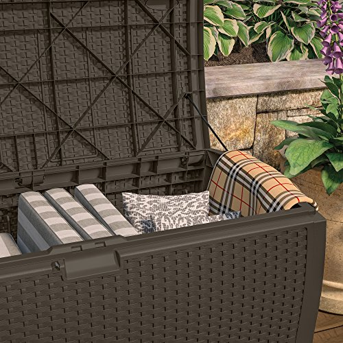 Large Product Image of Suncast DBW9200 Mocha Resin Wicker Deck Box, 99-Gallon