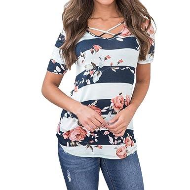 JJLOVE Women Short Sleeve Stripe Floral Print Sexy T-Shirts Tops Summer  Casual Tunic Blouse 600e8ca94