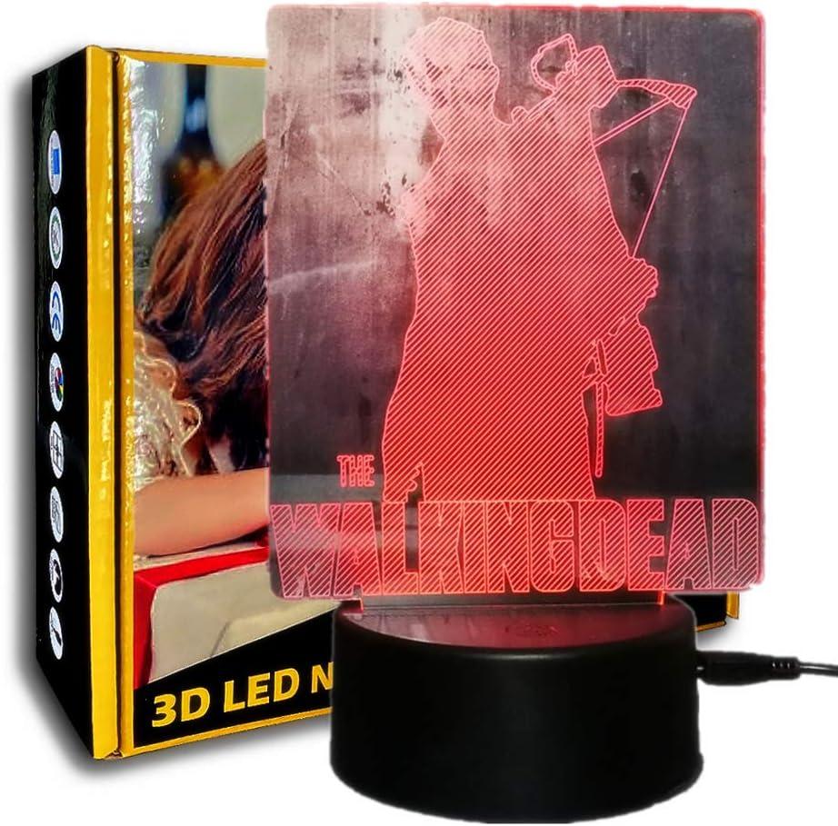 KangYD Luz de noche 3D Walking Dead, Lámpara de escritorio LED, Decoración del hogar, Regalo de ventiladores, Alimentado por USB, Gradiente colorido, Luz creativa, A - Touch negra Base (7 colores)
