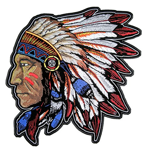 Leather Supreme Native American Indian Chief Headdress Embroidered Patch