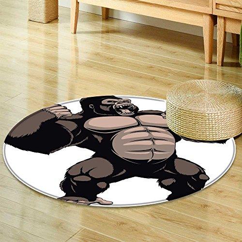 Small round rug Carpetvector illustration ferocious gorilla screaming on a white background door mat indoors Bathroom Mats Non Slip-Round 55