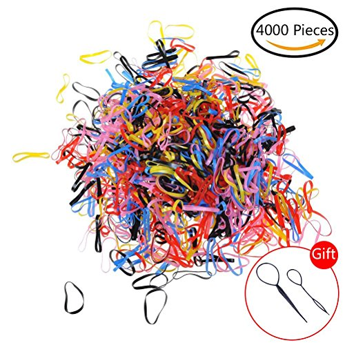 LIGONG 4000 Pieces Hair Elastics Rubber Bands for Baby Girls Kids Women Hairstyle and 1 Pair Hair Braid Ponytail Maker