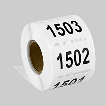 """Tuco Deals 1.5"""" x 1"""" Inch Large Number Square White / Black  Consecutive Number"""