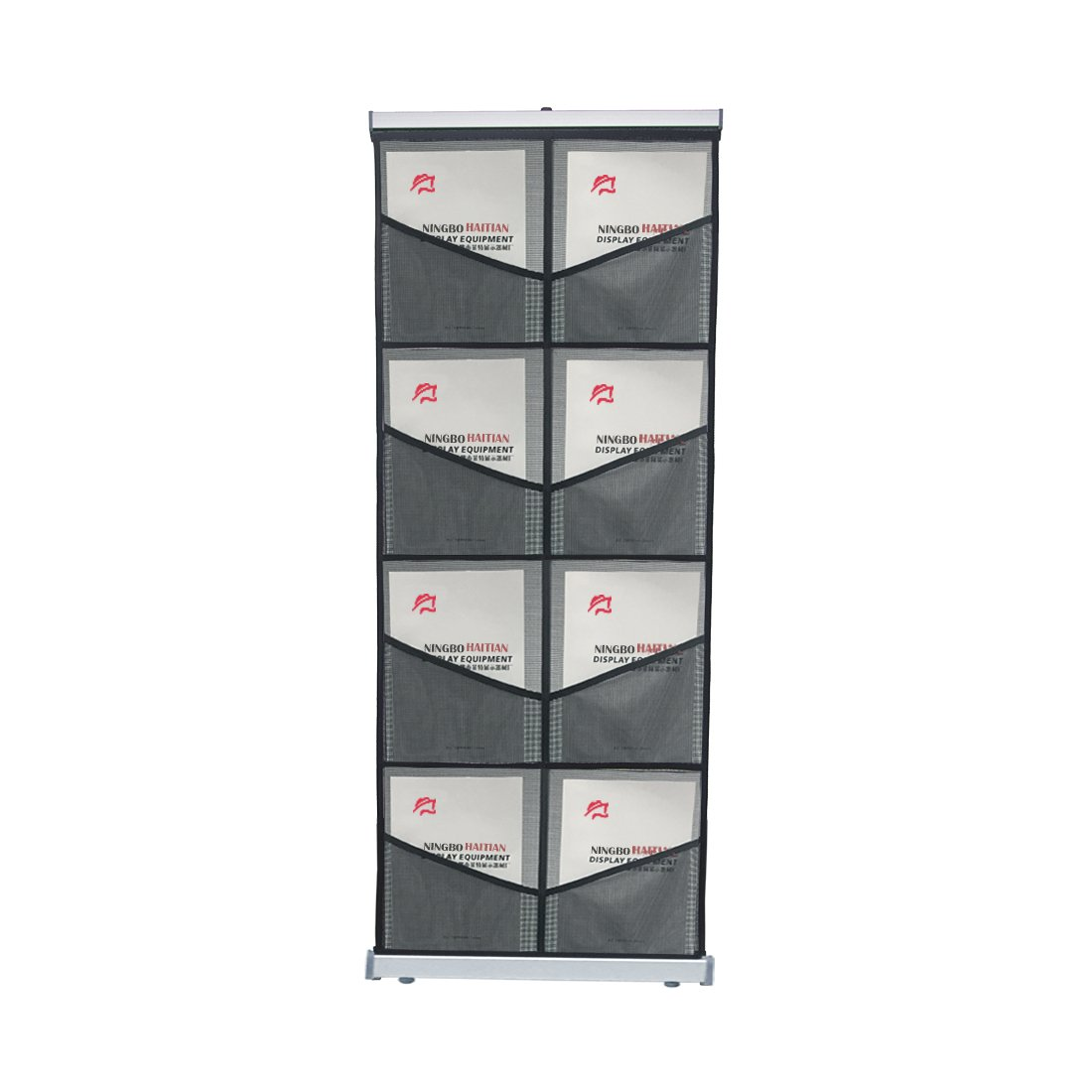 Haitian Folding Literature Magazine Rack with 8 Pockets, Roll up Mesh Brochure Holder with Light Weight Aluminum Structure,Carrying Bag Included Haitian Industral Co. Ltd.