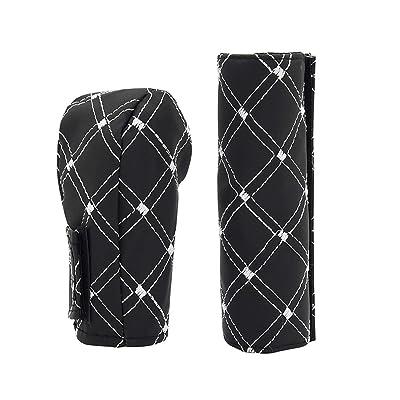 SANGAITIANFU 2 PU Leather Car Hand Brake Gear Cover Car Hand Brake Cover and Gear Head Shift Knob Cover Car Interior Supplies (White): Car Electronics