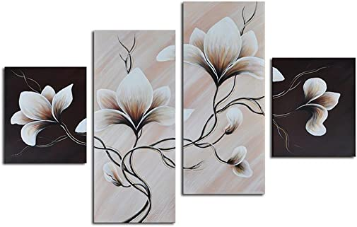 Noah Art-Modern Flower Paintings, 100 Hand Painted Taupe Flower Picture Stretched Grey Floral Wall Art On Canvas, 4 Piece Gallery Wrapped Canvas Flower Artwork for Bedroom Wall Decoration