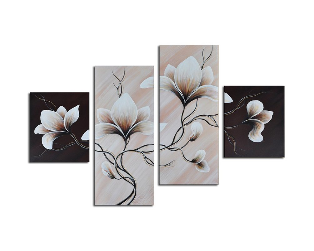 Noah Art-Modern Flower Paintings, 100% Hand Painted Taupe Flower Picture Stretched Grey Floral Wall Art On Canvas, 4 Piece Gallery Wrapped Canvas Flower Artwork for Bedroom Wall Decoration