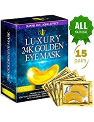 Luxury Under Eye Patches - 24K Gold Eye Mask Anti-Aging Hyaluronic Acid - Under Eye Mask for Reducing Dark Circles & Puffy Eyes (15 PAIRS) - Under Eye Bags Treatment
