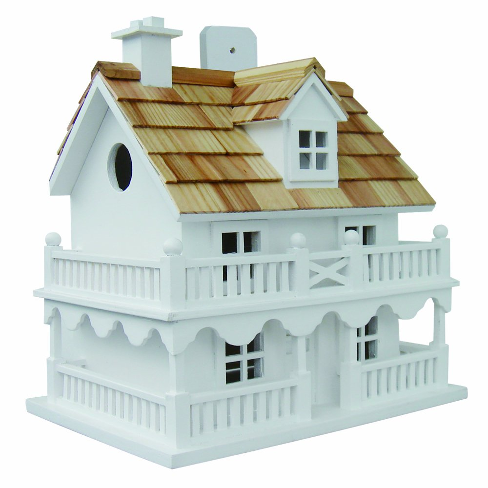 Home Bazaar HB6102PHWS Novelty Cottage Birdhouse Classic Series White